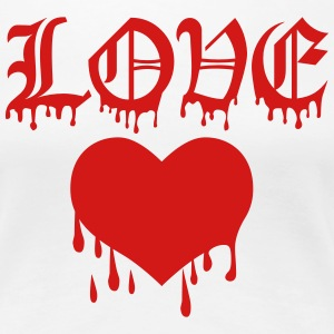 LOVE Broken Bleeding Heart heartbreak Blood 1c Des - Women's Premium T-Shirt