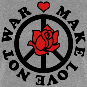 Make love not war heart star Peace Rose valentine  - Women's Premium T-Shirt