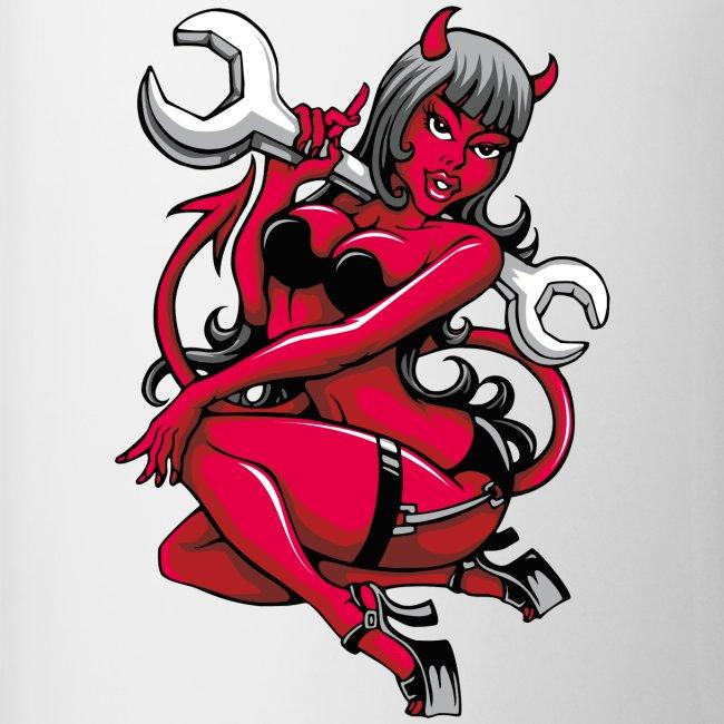 Fatline Devil Pin Up Girl With Big Wrench Coffeetea Mug