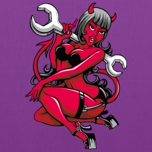 Devil Pin-Up Girl with Big Wrench Bags & backpacks - Tote Bag