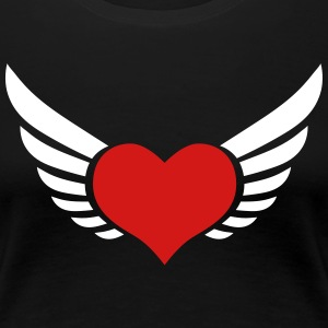 Lucky Love heart flies fly flying wings Lovers Val - Women's Premium T-Shirt