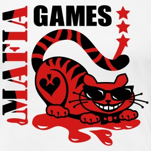 Crazy Red Cat Mafia Games Blood sunglasses Design  - Women's Premium T-Shirt
