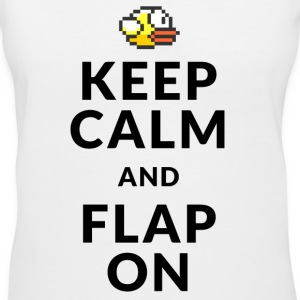 Flappy Bird T-Shirts - Keep Calm and Flap On Women's T-Shirts - Women's V-Neck T-Shirt