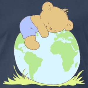 Cute Teddy Bear hugging world globe. T-Shirts - Men's Premium T-Shirt