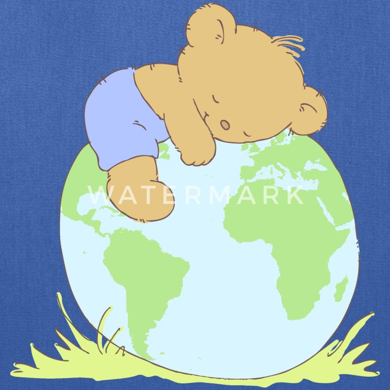 Cute Teddy Bear hugging world globe. Bags & backpacks - Tote Bag