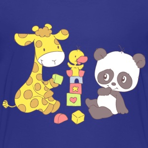 Giraffe and Panda playing with Blocks Baby & Toddler Shirts - Toddler Premium T-Shirt