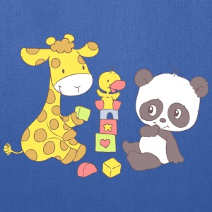 Giraffe and Panda playing with Blocks Bags & backpacks - Tote Bag