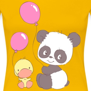 Panda and Duckling with Balloons Women's T-Shirts - Women's Premium T-Shirt