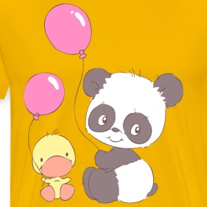 Panda and Duckling with Balloons T-Shirts - Men's Premium T-Shirt