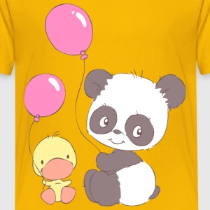 Panda and Duckling with Balloons Kids' Shirts - Kids' Premium T-Shirt