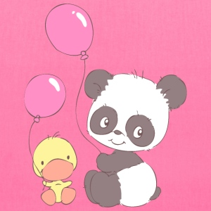 Panda and Duckling with Balloons Bags & backpacks - Tote Bag