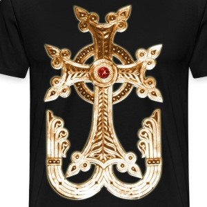 Cross Gold golden God Jesus Antique Christ men's T - Men's Premium T-Shirt