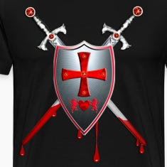 Knights Templars Sword Shield Cross weapon men's T