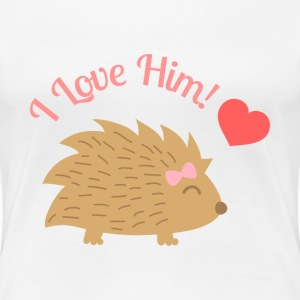 cute female hedgehog, I love him Women's T-Shirts - Women's Premium T-Shirt
