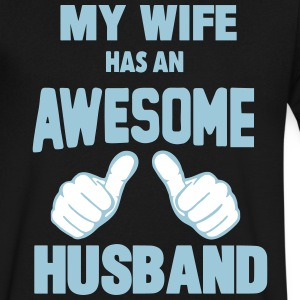 MY WIFE HAS AN AWESOME HUSBAND T-Shirts - Men's V-Neck T-Shirt by Canvas