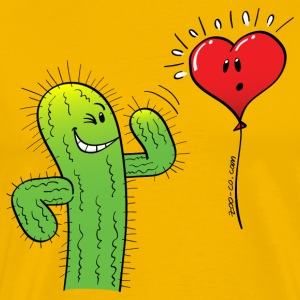 Cactus Flirting with a Heart Balloon T-Shirts - Men's Premium T-Shirt