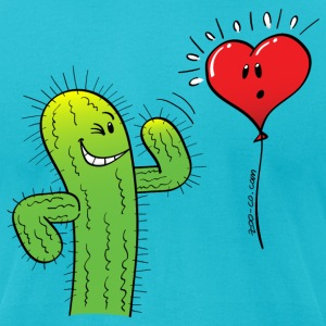 Cactus Flirting with a Heart Balloon T-Shirts - Men's T-Shirt by American Apparel