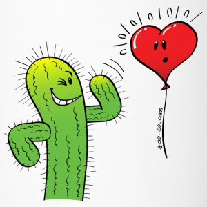 Cactus Flirting with a Heart Balloon Bottles & Mugs - Travel Mug