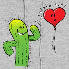 Cactus Flirting with a Heart Balloon Hoodies