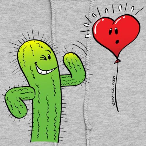 Cactus Flirting a Heart Balloon