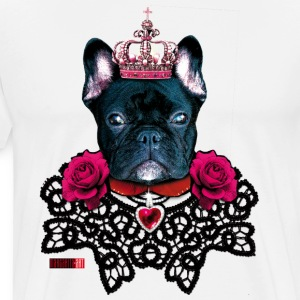 French Bulldog black King lace collar Roses Dog De - Men's Premium T-Shirt