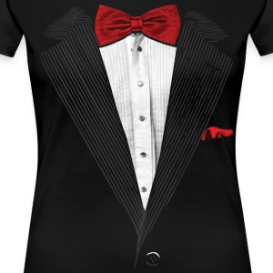 bow tie sear sucker tuxedo Women's T-Shirts - Women's Premium T-Shirt