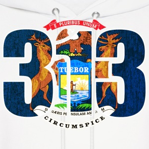 313 Michigan Mi Flag Hoodies - Men's Hoodie