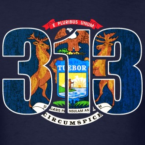 313 Michigan Mi Flag T-Shirts - Men's T-Shirt