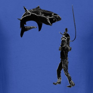 Vintage Diver with Shark, Helmet, and Knife T-Shirts - Men's T-Shirt