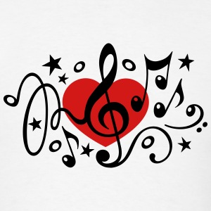 Music heart note I love classic choir star clef  T-Shirts - Men's T-Shirt
