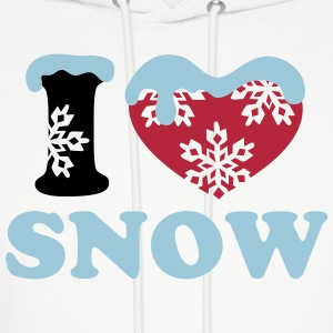 SNOW winter I LOVE snowflake ski heart snowboard Hoodies - Men's Hoodie