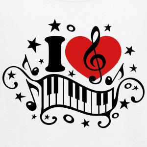 I love music heart note piano clef classic choir  Tanks - Women's Flowy Tank Top by Bella