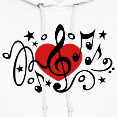 Music heart note I love classic choir star clef  Hoodies