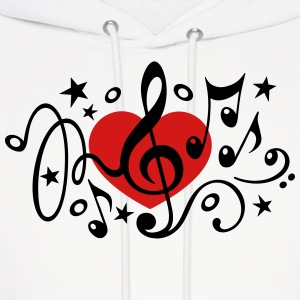 Music heart note I love classic choir star clef  Hoodies - Men's Hoodie