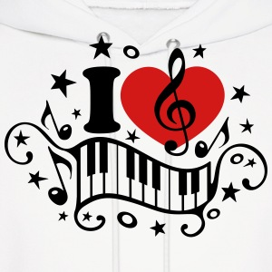 I love music heart note piano clef classic choir  Hoodies - Men's Hoodie