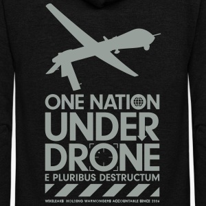 One Nation Under Drone - Support WikiLeaks Hoodies - Unisex Fleece Zip Hoodie by American Apparel