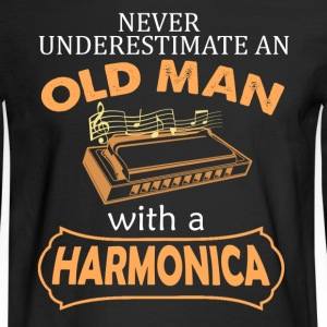 Old Man With Harmonica - Men's Long Sleeve T-Shirt
