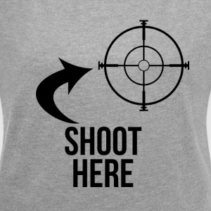 SHOOT HERE HEART SNIPER TARGET RIFLE SCOPE T-Shirts - Women´s Roll Cuff T-Shirt