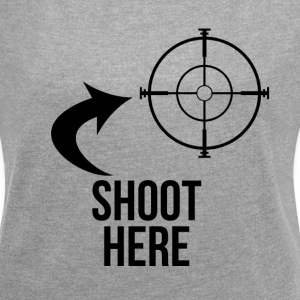 SHOOT HERE HEART SNIPER TARGET RIFLE SCOPE T-Shirts - Women´s Rolled Sleeve Boxy T-Shirt