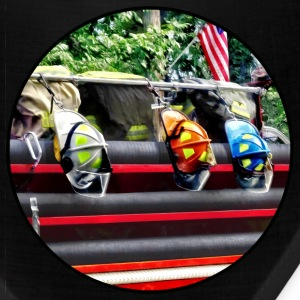 Three Fire Helmets on Fire Truck Caps - Bandana