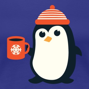 Penguin Coffee Cute - Winter Snowflake - Women's Premium T-Shirt