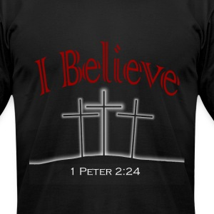 I Believe (red text) T-Shirts - Men's T-Shirt by American Apparel