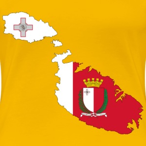 Malta Map Flag With Coat Of Arms - Women's Premium T-Shirt