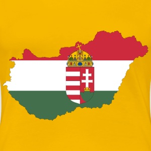 Hungary Map Flag With Stroke And Coat Of Arms - Women's Premium T-Shirt