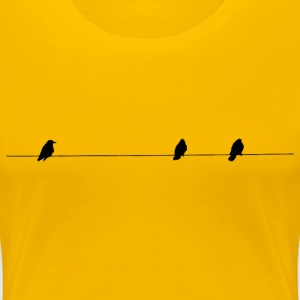 Birds On A Wire Silhouette - Women's Premium T-Shirt