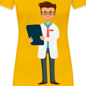 Doctor holding clipboard fixed arm and whiter coat - Women's Premium T-Shirt