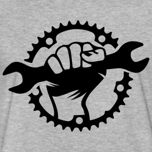 Bike Hero chainring bicycle bike cycling spanner T-Shirts - Fitted Cotton/Poly T-Shirt by Next Level