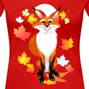 Happy Fox in Fall - Women's Premium T-Shirt