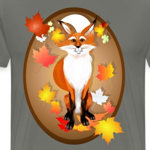 Happy Fox in Fall oval - Men's Premium T-Shirt