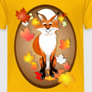 Happy Fox in Fall oval - Toddler Premium T-Shirt
